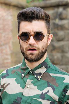 Pitti Uomo. Great camo shirt!