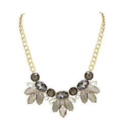 Floral Crystal Rhinestone Statement Necklace Earring Set Gold Tone
