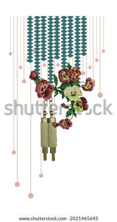 Digital Textile Design Motif Botanical Flower Stock Illustration 2021465645