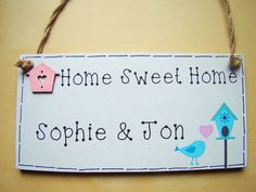 PERSONALISED Shabby Chic house warming gift HOME SWEET HOME wall plaque sign