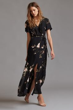 Floral Maxi Dress with Slits and Back Cutout