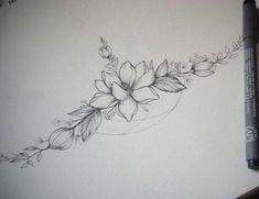 Instead of one flower, a bunch of violets ❤️❤️ Vine Tattoos, Dream Tattoos, Flower Tattoos, Body Art Tattoos, Female Tattoos, Tatoos, Lotusblume Tattoo, Sternum Tattoo, Piercing Tattoo