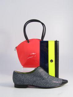 Hester van Eeghen: Tivoli Small orange-pink neon, Resto & Pesto black snake blue metallic, Petite Souris black-print
