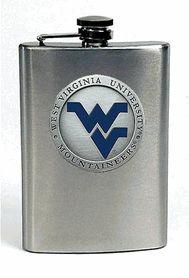 WVU West Virginia University Mountaineers 8 oz Stainless Steel Hip Flask with Pewter & Enamel Logo