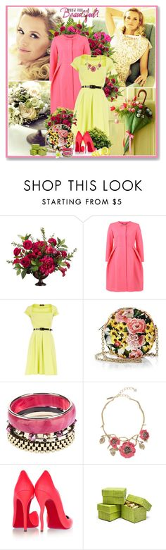 """Reese Witherspoon Glamour UK March 2012"" by glitterbaby77 ❤ liked on Polyvore featuring Calla, Orla Kiely, Dorothy Perkins, Dolce&Gabbana, Iosselliani, Oscar de la Renta, Christian Louboutin, Spring, dress and colorful"