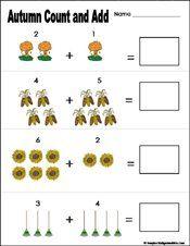 math worksheet : fall autumn preschool and kindergarten math worksheet  school  : Fall Math Worksheets