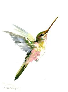 Hummingbird painting 14 x10 inzen painting bird by ORIGINALONLY
