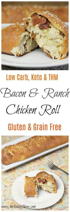 Low Carb, THM, Keto, Gluten Free Bacon Ranch Chicken Roll!!! - Low Recipe