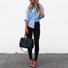 blue top and black jeans