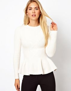 Ted Baker | Ted Baker Cable Knit Jumper with Peplum Hem at ASOS