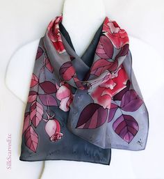 Hand painted silk scarf gray pink  Pink roses by SilkScarvesEtc