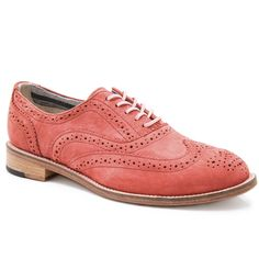 Ladies Brogues | ... Women › SHOES › Charlie Women's Coral Red Leather Brogues C1829