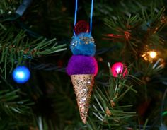 """Lines Across"": Ice Cream Ornaments pom poms ... I dyed cotton balls with kool aid and used those instead"