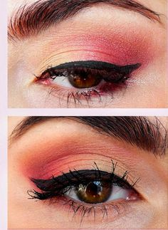 Pretty (Squared) Coral Eye Makeup Look using Stila Countless Color Pigments