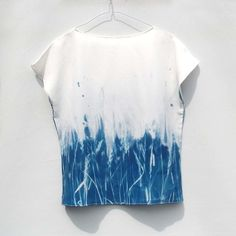 Blusa de seda - Sky High Meadows - Cyanotype Imprimir Arriba