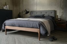walnut-and-grey-parquet-fabric-upholstered-Bloomsbury-bed-1300 Gray Upholstered Headboard, Headboard Cover, Solid Oak Beds, Solid Wood, Oak Bed Frame, Bed Company, Bed Slats, Wood Beds, Grey Bedding