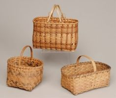 Lot: Three Cherokee Native American Baskets, Lot Number: 0276, Starting Bid: $25, Auctioneer: Jack Eubanks Auctions, Auction: Mettlach, Southern Pottery & Baskets, Etc., Date: March 23rd, 2013 CDT