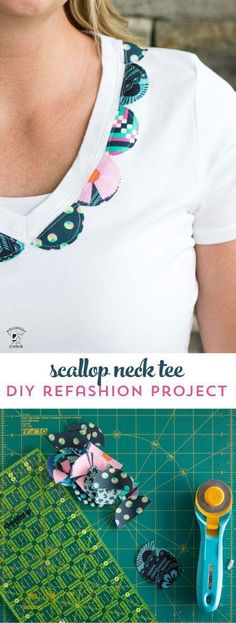 Best Diy Crafts Ideas For Your Home : Dress up a simple white t-shirt with a bit of fabric using this DIY scallop neck