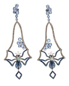 Blue Sapphire Spider Earrings by Wendy Yue