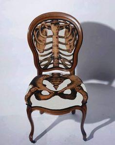skeleton. chair. upholstered.