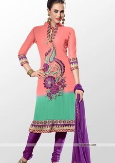 Be the crowd puller in this georgette salwar kameez designed with blend of peach and green shade. http://goodbells.com/salwar-suits/peach-and-green-shade-salwar-kameez.html