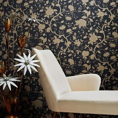 Botanical Floral Wallpaper by Kelly Hoppen - Designer Black Wall Coverings by Graham & Brown