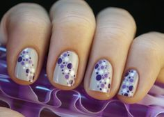 Light, soft pastel gray nails with various shades of purple and white polka dots easy free hand nail art - Nailed It's Top 12 in 2012