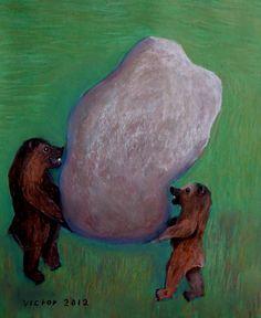Starka björnar, pastell på papper. Strong bears, pastel on paper.