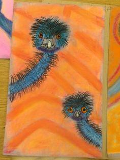 Edward and Edwina the Australian Emus Australian Art For Kids, Aboriginal Art Australian, Australian Birds, Animal Art Projects, Animal Crafts, Classroom Art Projects, Art Classroom, Art Activities For Kids, Language Activities
