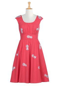 Embellished Pineapple Cotton Poplin Dresses, Cotton Poplin Dresses Shop Women's Designer Dresses, Silk Dresses, Black Dresses, Women's Special Occasion Dresses | eShakti