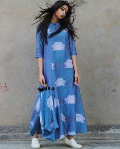 Blue Printed Shirt Collar Asymmetric Hem Long Kurti