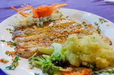 Garlic sailfish with vegetables Las Vegas Restaurant Sierpe, Costa Rica