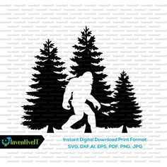 Image result for sasquatch Clip Art Library, Bigfoot Sasquatch, Classic Monsters, Deep Forest, Silhouette Vector, Print Format, Vector Free, Image