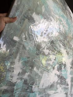 This one of a kind, original abstract artwork created with a mixture of acrylic paints and different textures. These large scale paintings offer a unique statement for any large wall. This style painting includes shades of gray, tiffany blue, white and silver.  This is a signed original gallery wrapped heavy duty canvas that is 1.5 deep ****** This item is sold, but a very similar piece can be made upon request! Custom colors and sizes available. *******   gold, gold foil, gold leaf, resin…