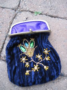 Victorian beetle wing velvet embroidered purse by AlisaKester on Etsy $40.00