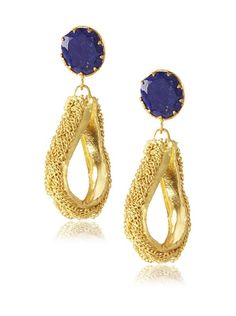 "Zariin Scintillating Two Earrings 170/68 Braided chain dresses up a teardrop-shaped accent that dangles from a faceted stone  Dimensions: height 2.5"", width 0.5""  Metal type: 22 Kt Gold-Plated Brass  Gem type: Blue Lapis Lazuli  Backfinding: Post With Friction Back"