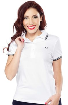 963eb577 FRED PERRY GIRLS TWIN TIPPED POLO WHT/BLK A classic design with a new fit. Sourpuss  Clothing