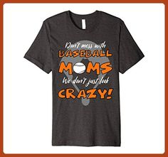 Mens Premium Crazy Baseball Mom Orange 3XL Dark Heather - Relatives and family shirts (*Partner-Link)