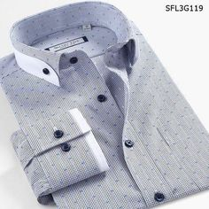 "HOT PRICES FROM ALI - Buy Cotton Men's Clothin Brand imported Print Dot Buckle plaid Shirts Double Collar Casual Dress shirts camisa masculina"" from category ""Men's Clothing & Accessories"" for only USD. Shirt Collar Pattern, Shirt Collar Styles, Formal Shirts For Men, Cotton Shirts For Men, Plaid Shirts, Men Formal, Mens Designer Shirts, Designer Suits For Men, Gents Shirts"