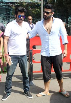 Anil Kapoor and Arjun Kapoor spotted at the Mumbai airport. #Bollywood #Fashion #Style #Handsome