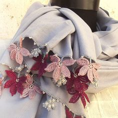 Turkish OYA Lace - Pashmina stole - Light Gray- Scarf Shawl For Her Gift For Women Winter Scarf Women Fashion Accessories
