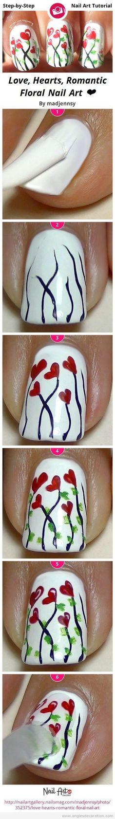 San Valentín, uñas con corazones florales | Decoración de Uñas - Manicura y Nail Art