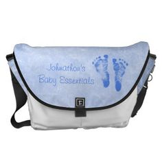 Cute Baby Boy Footprints Diaper Bag With Name