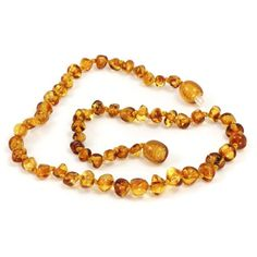 A genuine Baltic Amber teething necklace is a natural form of pain relief for teething babies. Amber itself is a fossilized tree resin, and contains succinic acid, which when released into the skin, provides anti-inflammatory and analgesic properties.