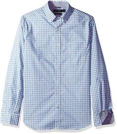 8bb1afcc830 Nautica Men s Classic Fit Long Sleeve Small Plaid Button Down Shirt
