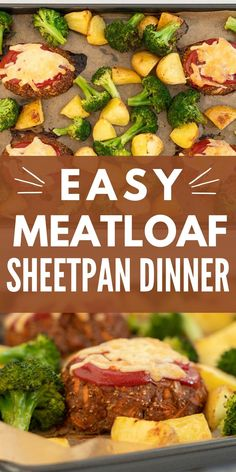 Easy meatloaf recipe a sheetpan dinner that is perfect for busy families How To Make Meatloaf, Easy Meatloaf, Meatloaf Recipes, Quiche Recipes, Baby Food Recipes, Chicken Recipes, Cooking Recipes, Quick Dinner Recipes, Quick Meals