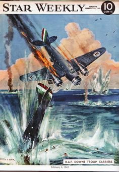 The Star Weekly was a newsmagazine published by the Toronto Star. During World War Two it published many colour illustrations of the war in progress. This one dated February 1941 shows the Royal Air Force downing a troop carrier. See my entire collection of Star Weekly covers here: www.elinorflorence.com/blog/117839
