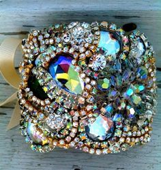 Oh the glitz...be still my heart.......DolorisPetunia - Custom AB Crystal Topographic Rhinestone Cuff