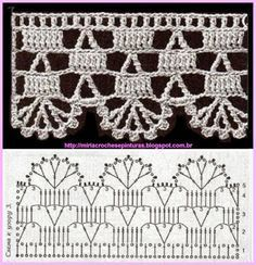 This is a gorgeous super-chunky knit stitch crochet scarf. This pattern essentially utilizes the double crochet or double crochet (if you are in the UK) stitches in crochet that will give the chunky feel of the finished product. Crochet Boarders, Crochet Lace Edging, Crochet Motifs, Crochet Diagram, Crochet Stitches Patterns, Crochet Chart, Thread Crochet, Crochet Trim, Filet Crochet