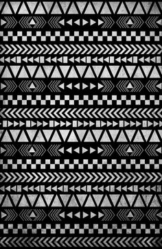 Tribal Print in Black and White Art Print